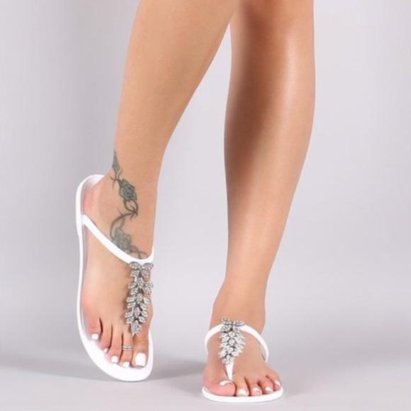 5023ac4eb White Rhinestone Sandals